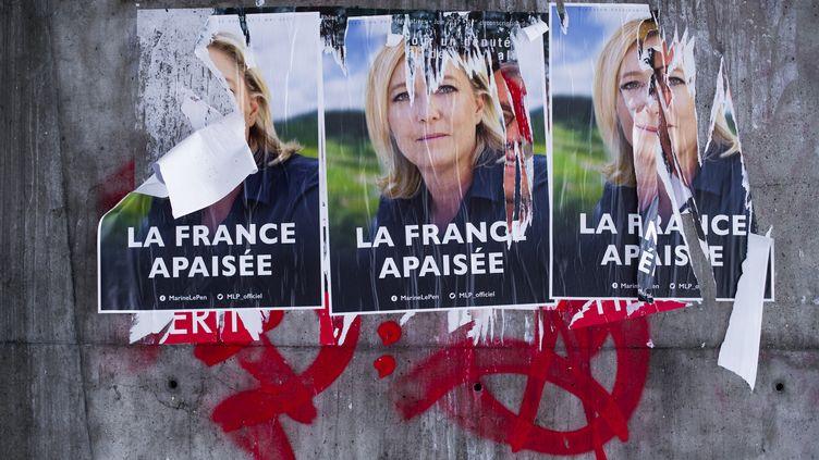 Des affiches de Marine Le Pen, le 23 février 2017 près de Lyon (Rhône). (LAURENT CERINO / REA)