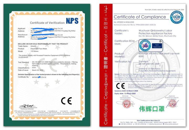 Ces deux certificats ont été émis par des organismes européens. Pourtant, malgré les apparences, ils ne garantissent pas que les masques sont bien conformes à la réglementation. (DR)