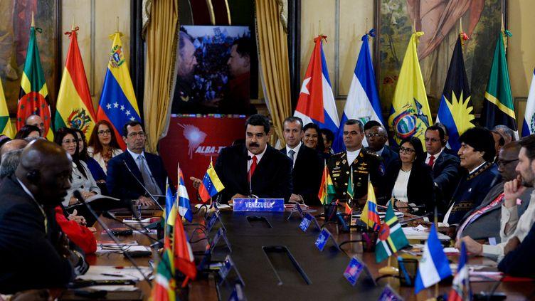 Le président du Venezuela, Nicolas Maduro, le 5 mars 2017, lors du sommet de l'Alba à Caracas (Venezuela). (FEDERICO PARRA / AFP)