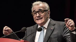 Martin Scorsese fait un discours en recevant le Prix Lumière à Lyon, le 16 octobre 2015.  (Jean-Philippe Ksiazek / AFP)
