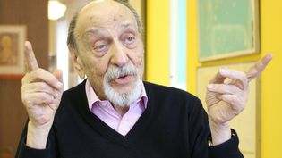 "Le graphiste américain Milton Glaser, auteur notamment du fameux logo ""I Love NY"". Photo prise le 20 mai 2014. (PICTURE ALLIANCE / GETTY IMAGES)"