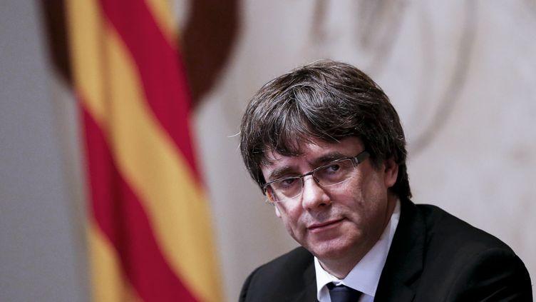 Carles Puigdemont, leprésident séparatiste catalan, le 10 octobre 2017 à Barcelone (Espagne). (PAU BARRENA / AFP)