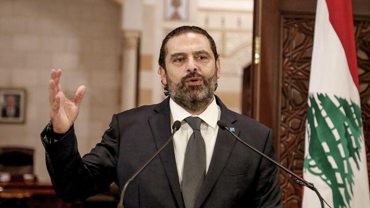 Le Premier ministre libanais, Saad Hariri, lors d'un discours télévisé, le 18 octobre 2019. (MARWAN NAAMANI / DPA / AFP)