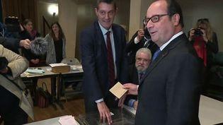 François Hollande vote pour le second tour de la présidentielle à Tulle (Corrèze) le 7 mai 2017. (MATHILDE BRAZEAU / FRANCE 3 / FRANCEINFO)