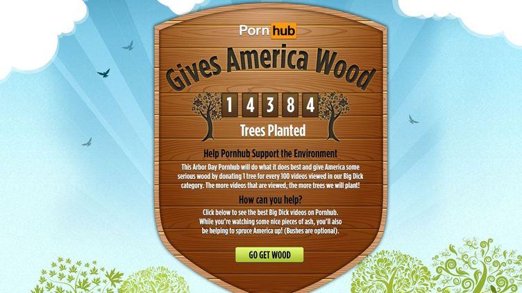 """Capture d'écran de la page Pornhub dédiée à son opération """"Give Wood To America"""" à l'occasion de la journée de l'arbre, le 25 avril 2014. (PORNHUB / FRANCETV INFO)"""
