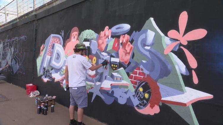 """Le """"Wall of fame"""", une fresque de 900m² réalisée dansle cadre de Teenage Kicks. (France 3 Bretagne)"""