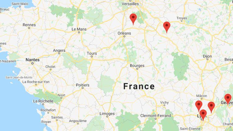 Des violences urbaines signalées le 11 novembre 2020 en Auvergne-Rhône-Alpes, Centre-Val de Loire et Bourgogne-Franche-Comté. (GOOGLE MAPS)