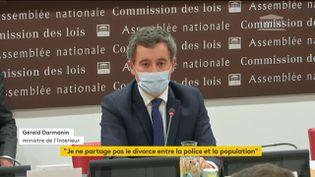 Le ministre de l'Intérieur Gérald Darmanin devant la commission des lois de l'Assemblée nationale, à Paris, le 30 novembre 2020. (FRANCE TELEVISIONS)