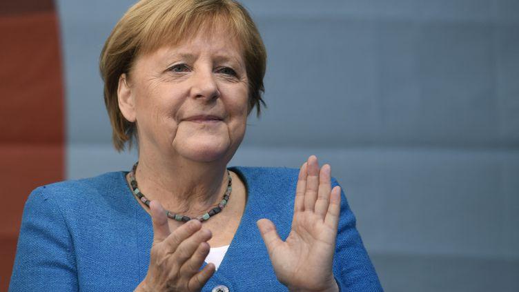 La chancelière allemande Angela Merkel à Aix-la-Chapelle (Allemagne) , le 25 septembre 2021 (INA FASSBENDER / AFP)