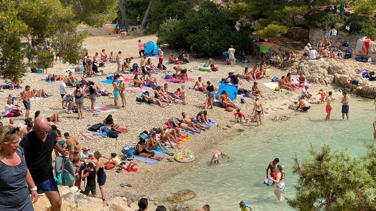 Les Calanques de Marseille surpeuplées, en juillet 2020. La mairie et le parc national souhaitent limiter la fréquentation du site pour la saison estival 2021. (BORIS LOUMAGNE / FRANCE-INFO)
