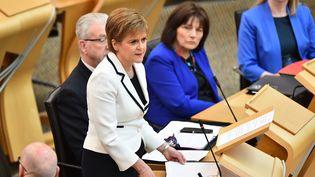 Nicola Sturgeon au Parlement écossais, le 24 avril 2019. (ANDY BUCHANAN / AFP)