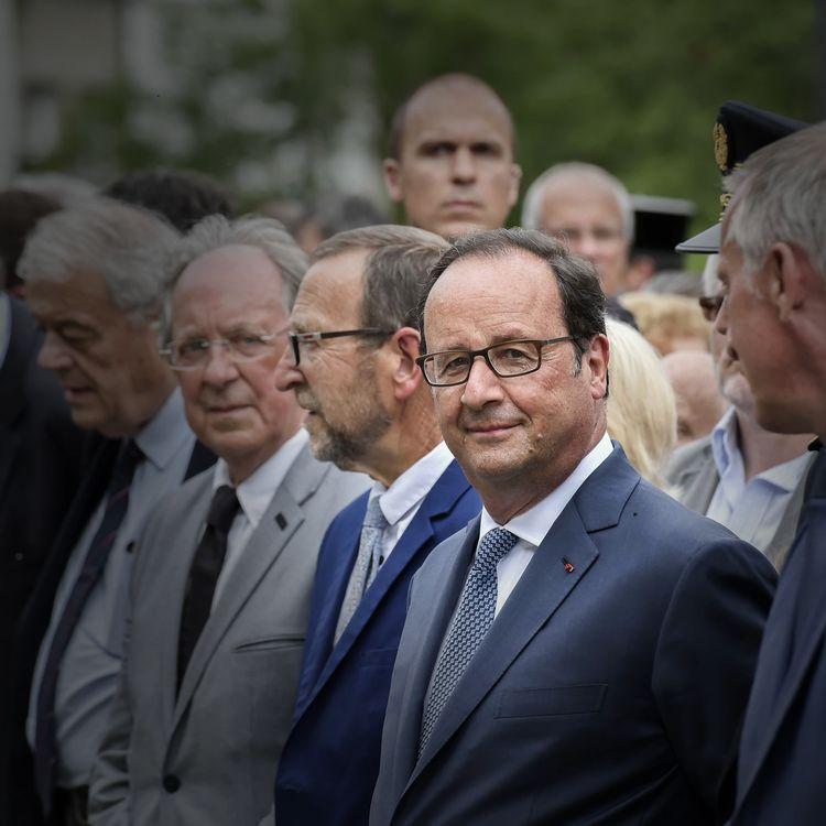 L'ancien président François Hollande participe à une cérémonie en hommage aux martyrs de Tulle (Corrèze), le 9 juin 2017. (PATRICK ALLARD / REA)