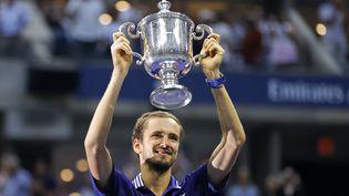 Le Russe Daniil Medvedev, vainqueur de l'édition 2021 de l'US Open de tennis, lundi 13 septembre 2021. (SARAH STIER / GETTY IMAGES NORTH AMERICA)