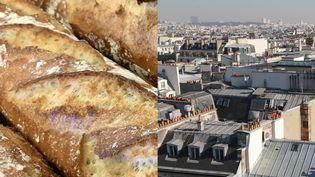 Une baguette de pain et les toits de Paris (montage). (NATHANAEL CHARBONNIER / RADIO FRANCE - JACQUES DEMARTHON / AFP)