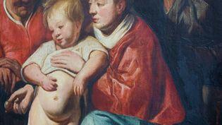 """Une """"Sainte Famille"""" de Jacques Jordaens, découverte dans une mairie de Bruxelles (détail) (VIRGINIE LEFOUR / BELGA MAG / VIA AFP)"""