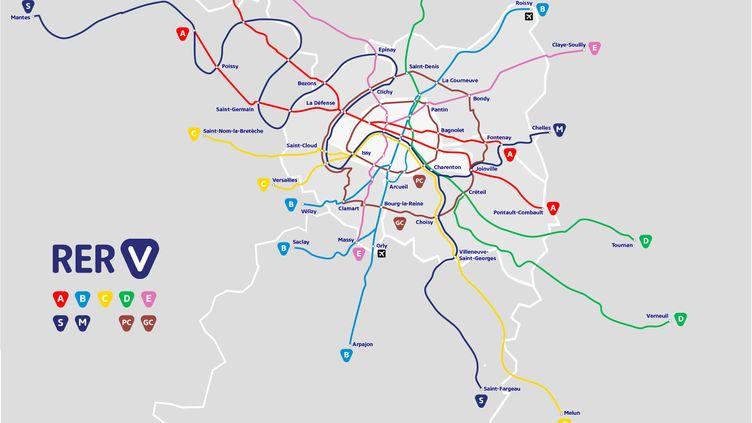 """Le projet de """"RER V"""". (COLLECTIF VELO ILE-DE-FRANCE)"""
