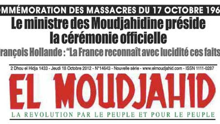 La une du «El Moudjahid», le 18 octobre 2012. (DR)