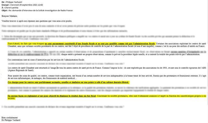 Extraits de la réponse envoyée par Philippe Yacharel à la Cellule investigation de Radio France. (CELLULE INVESTIGATION DE RADIO FRANCE)