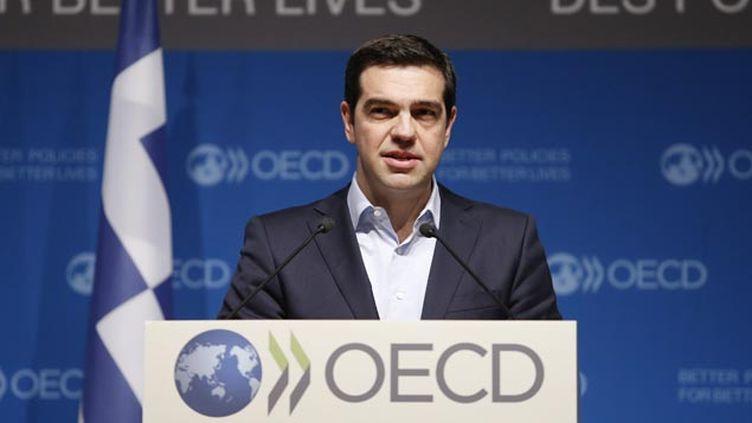 (Alexis Tsipras, premier ministre grec devant l'OCDE à Paris © Maxppp)