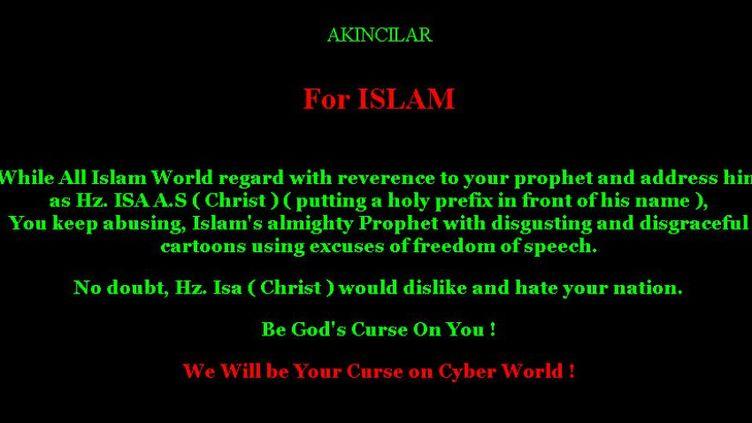 Capture d'écran du message qui apparaissait après le hacking du site de Charlie Hebdo. (DR)