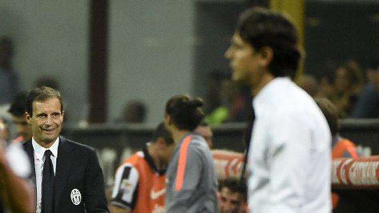 L'entraîneur de l'AC Milan, Filippo Inzaghi et son ancien coach désormais à la Juventus, Massimiliano Allegri