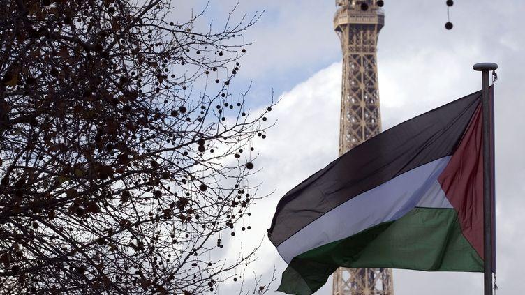 Le drapeau palestinien flottant devant le siège de l'Unesco, à Paris, le 13 décembre 2011. (JOEL SAGET / AFP)