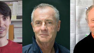 Les écrivains Grégory Le Floch,Jean Rolinet Valère Novarina sont finalistes du prix Décembre. (AFP / Capture d'écran Youtube)