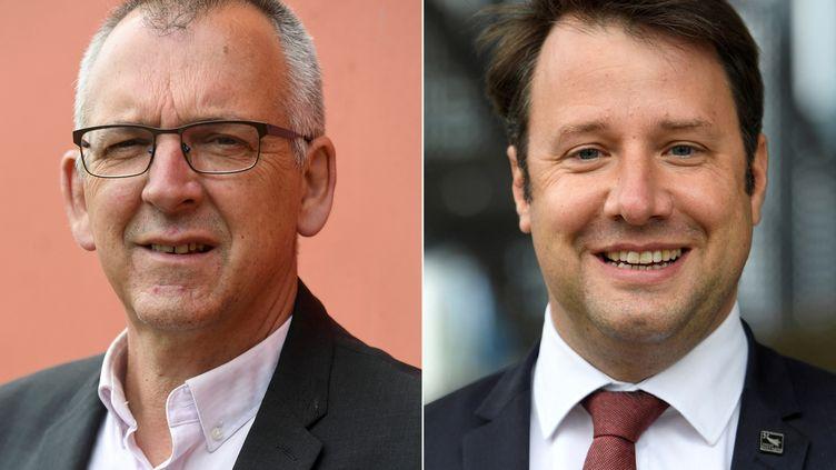 Thierry Burlot (G), candidat aux prochaines élections régionales en Bretagne, et le président de région sortant Loïg Chesnais-Girard (D) , du Parti socialiste français (PS). (FRED TANNEAU / AFP)