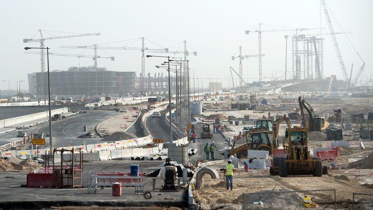 (Un des nombreux chantier de Doha, au Qatar © MaxPPP)