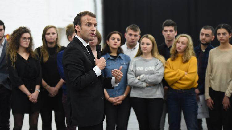 Le président de la République, Emmanuel Macron, le 13 novembre 2017 à Roubaix (Nord). (FRANCOIS LO PRESTI / AFP)