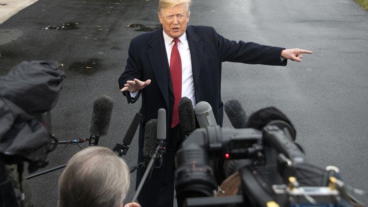 Le président américain Donald Trump avant son départ pour Paris, à Washington (Etats-Unis), le 9 novembre 2018. (RON SACHS / AFP)