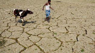 Un fermier indien marche sur une terre asséchée, dans l'état deTripura (Inde), le 24 février 2018. (ARINDAM DEY / AFP)