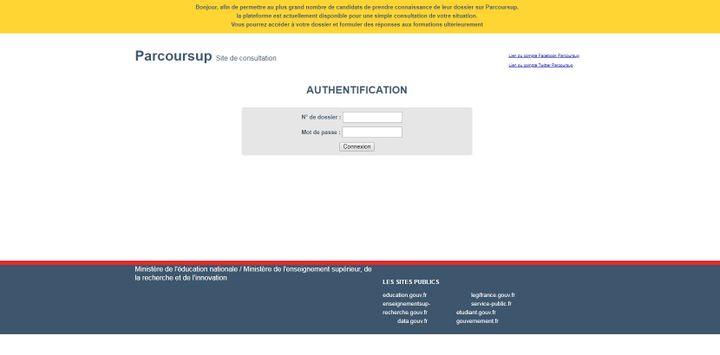 Capture d'écran du site Parcoursup le 15 mai 2019. (PARCOURSUP / FRANCEINFO)
