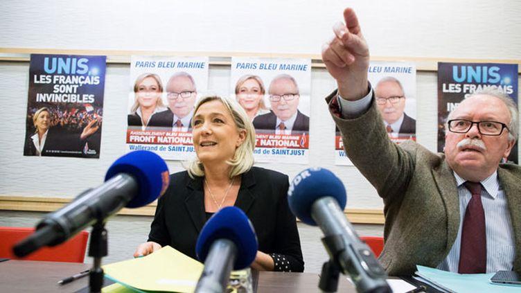 (Marine Le Pen et Wallerand de Saint-Just, trésorier du FN © Maxppp)