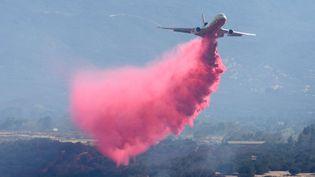 Un DC-10 lors d'une opération contre unincendie, près de San Bernardino, en Californie (Etats-Unis), le 7 août 2016. (DAVID PARDO / AP / SIPA)