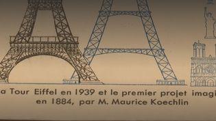 Le détail d'une carte postale montrant le projet de Maurice Koechlin (à droite) et celui de Gustave Eiffel (à gauche) côte à côte. (FRANCE TELEVISIONS - Capture d'écran)