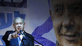 Benyamin Nétanyahu lors d'un meeting du Likoud, à Petah Tikva, le 18 décembre 2019. (JACK GUEZ / AFP)