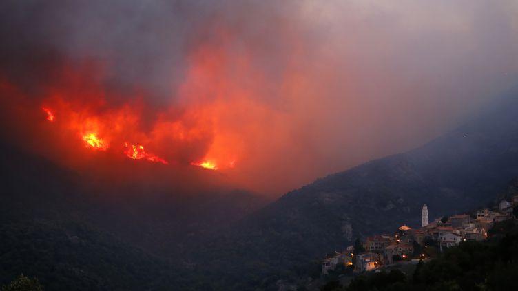 Des incendies à proximité du village de Palasca (Haute-Corse), le 22 octobre 2017. (PASCAL POCHARD-CASABIANCA / AFP)