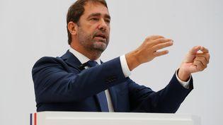 Christophe Castaner lors d'une conférence de presse, le 14 septembre 2018, à Paris. (FRANCOIS GUILLOT / AFP)
