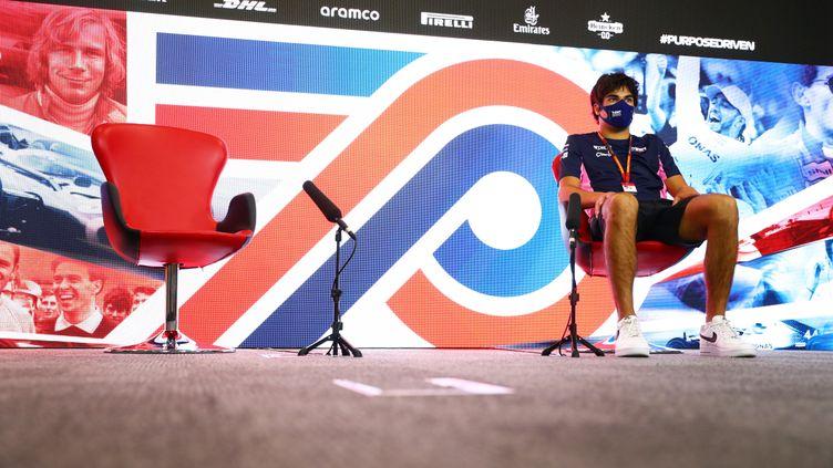 Le siège vide deSergio Perez, le 31 juillet 2020,Silverstone, au Royaume-Uni. (F1 / DPPI MEDIA / AFP)