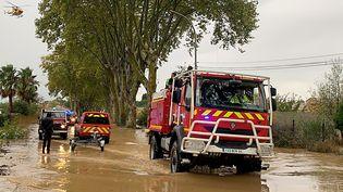 Des équipes de secours àVilleneuve-les-Béziers (Hérault), le 23 octobre 2019. (AFP PHOTO / SECURITE CIVILE / SDIS34)