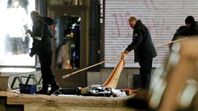 La police sur les lieux de l'explosion à Stockholm (AFP)