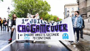 Manifestation interprofessionnelle pour le retrait de la réforme de l'assurance-chômage le 22 mai 2021 à Paris. (AMAURY CORNU / HANS LUCAS)