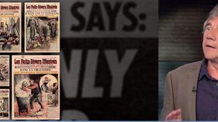 """L'invité du Soir 3 samedi 1er juillet est Gérard Aimé, auteur de """"Scandale à la Une"""", une compilation de 500 Unes de presse et de magazines, consacrées aux faits-divers. (France 3)"""