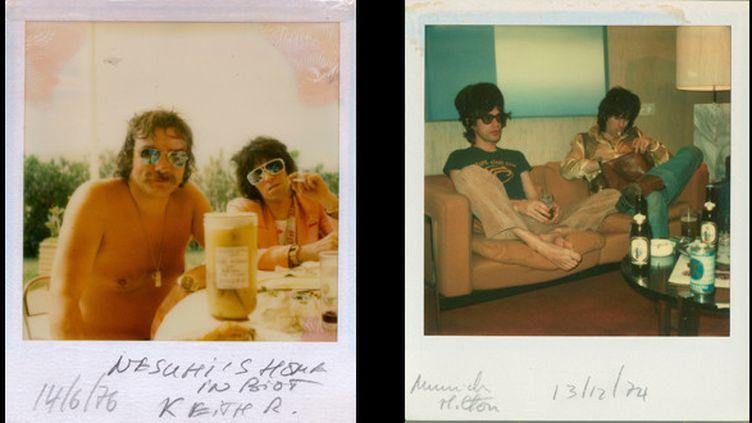 Dominic Lamblin et Keith Richards à Biot en 1976 et Mick Jagger et Keith Richards à Munich en décembre 1974.  (Dominic Lamblin)