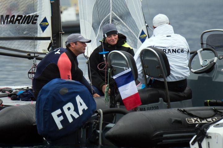 Billy Besson et Marie Riou sur leur embarcation