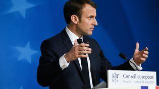 Emmanuel Macron lors d'une conférence de presse à l'issue d'un sommet européen, le 22 mars 2019, à Bruxelles. (RICCARDO PAREGGIANI / NURPHOTO / AFP)