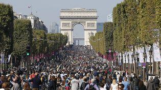 Promeneurs et cyclistes profitent de l'avenue des Champs-Elysée, à l'occasion de la journée sans voiture, à Paris, le 27 septembre 2016. (THOMAS SAMSON / AFP)
