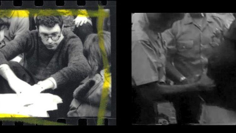 A gauche, Bernie Sanders, lors d'un sit-in à l'université de Chicago, en 1962. A droite, Bernie Sanders, lors de son arrestation en 1963. (KARTEMQUIN FILMS / VIMEO)