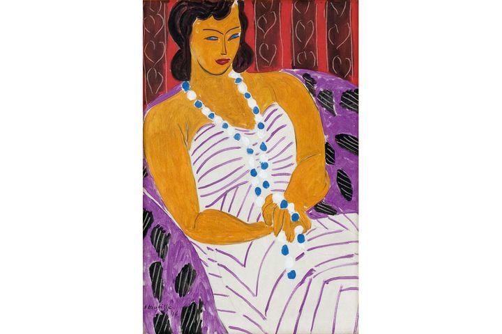 """Henri Matisse, """"Dame à la robe blanche (femme en blanc), 1946,Des Moines, Des Moines Art Center, 1959.40 ; don de M. John et Mme Elizabeth Bates Cowles  (Photo : Rich Sanders, Des Moines, IA. © Succession H. Matisse)"""